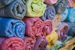 Stacked Fabric Rolls