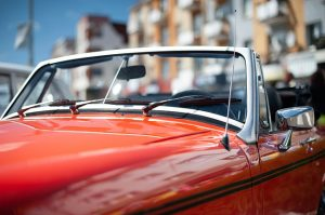 Old red convertible vehicle